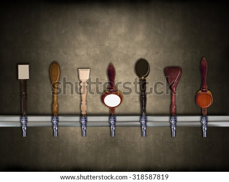 Multiple beer taps in a row with room for copy on each - stock photo