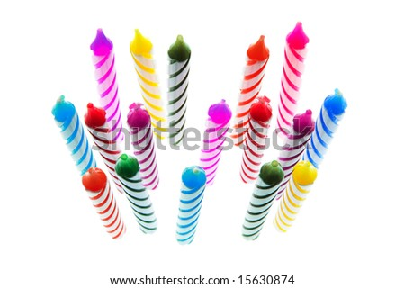 Multiple Birthday Candles on White Background - stock photo