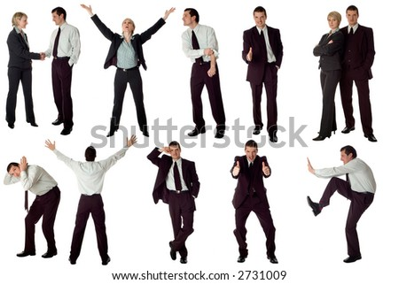 multiple business men isolated on white background - stock photo
