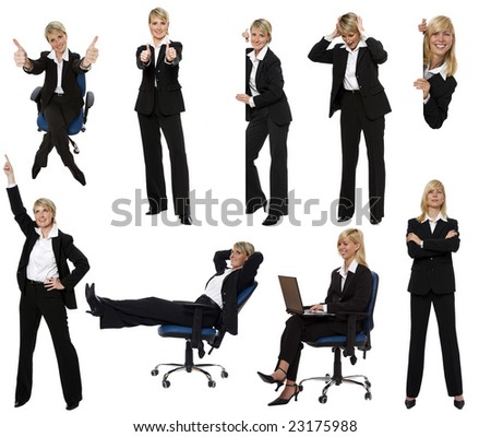 multiple business woman figures isolated on white - stock photo