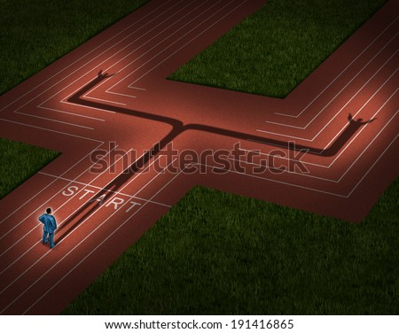 Multiple career and multitasking business concept with a businessman casting a shadow on a crossroad track in two directions as a metaphor for efficient leadership management skills. - stock photo