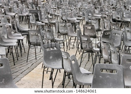 Multiple chairs on St Peter's square (Vatican).  - stock photo