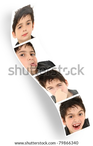 Multiple child faces and expressions on photo booth strip over white. - stock photo