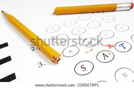 Multiple choice exam with SAT colored text                                - stock photo