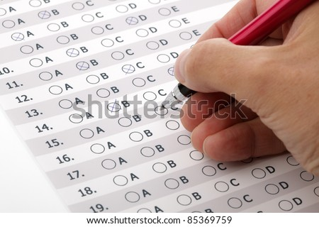 Multiple choice examination form or customer service satisfaction survey - stock photo