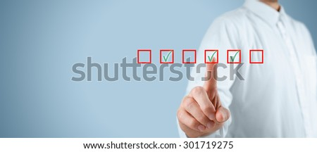Multiple choices concept. Businessman click on multiple checkboxes.  - stock photo