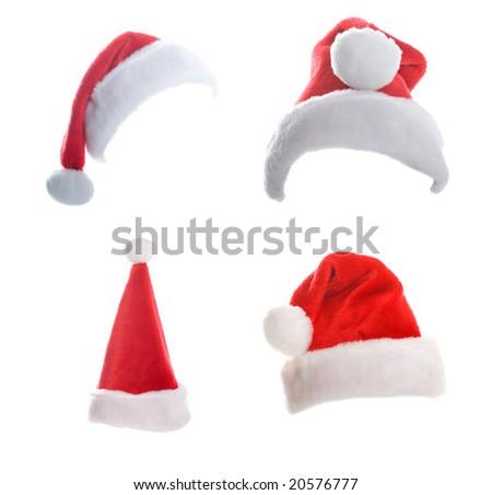 Multiple Christmas Hats Isolated on White Background - stock photo