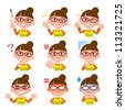 Multiple close-up portraits of the same woman in different emotions and expressions - stock vector