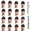 Multiple close-up portraits of the same woman in different emotions and expressions - stock
