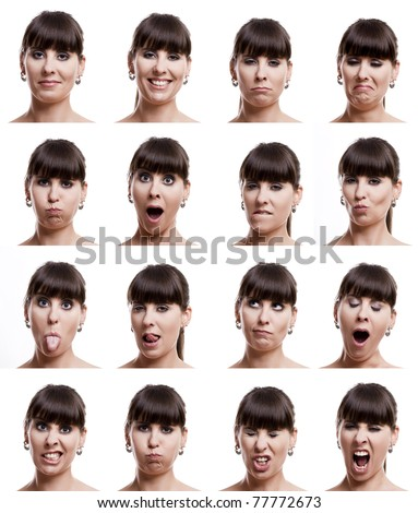 Multiple close-up portraits of the same woman in different emotions and expressions - stock photo