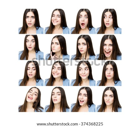 Multiple collage of a beautiful young woman with different expressions and doing different things - stock photo