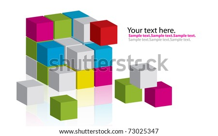 multiple color cubic - stock photo