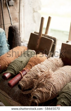 Multiple color spools with thick flax threads - stock photo
