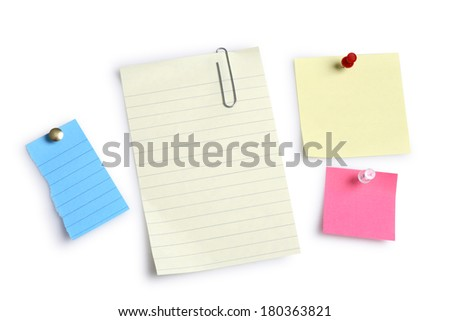Multiple colorful blank notes on white background