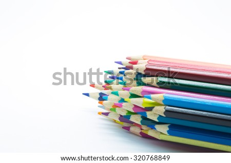 Multiple colour set of wooden pencil on white background - stock photo