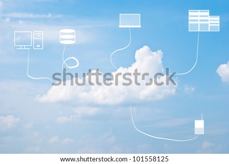 Multiple devices and cloud computing concept against the blue sky - stock photo