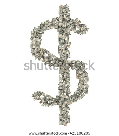 Multiple Dollar bills $100, $50, $20, $10, $5 in the shape of dollar sign ($). Isolated on white background. 3d rendering - stock photo