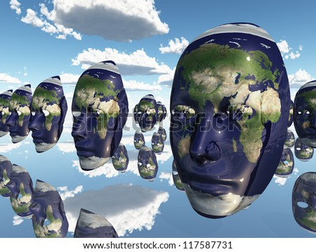 Multiple Earth faces recede into distance