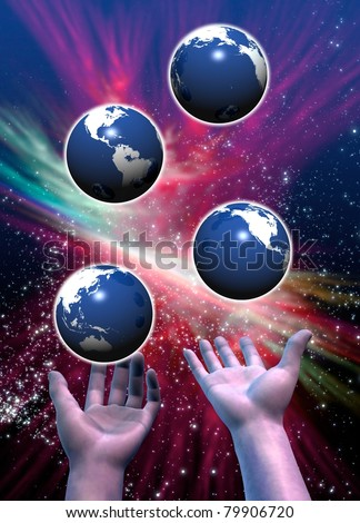 Multiple Earths been juggled in a conceptual image on the possibility of a multi-verse of alternative Earth timelines - stock photo