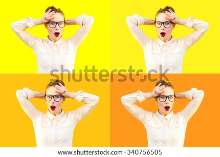 Multiple emotional photo set of colorful summer autumn outdoor funny pretty girl with fun sunglasses red lips and comic stress excited surprised scream smile laugh yellow isolate background - stock photo