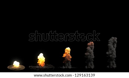 Multiple Explosions - stock photo