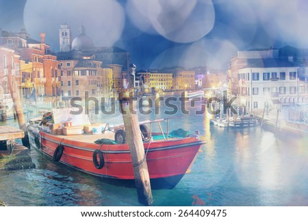 Multiple exposure photo of Venice, Italy. Dreamy effect was applied. - stock photo