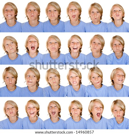 multiple facial expressions - stock photo