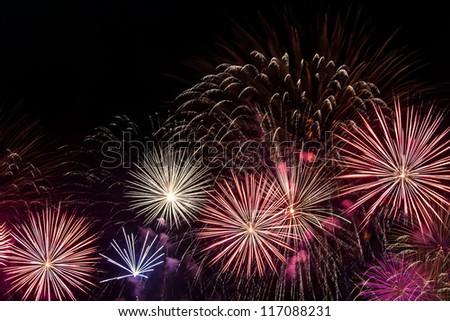 Multiple Fireworks on Black Sky - stock photo