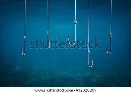 Multiple fishing hooks under sea water background, 3d illustration