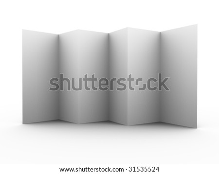Multiple folded 3d leaflet. For other similar images from the series, please, check my portfolio. - stock photo