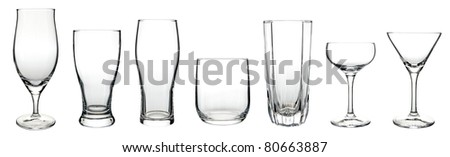 Multiple glass cup isolated on the white background - stock photo