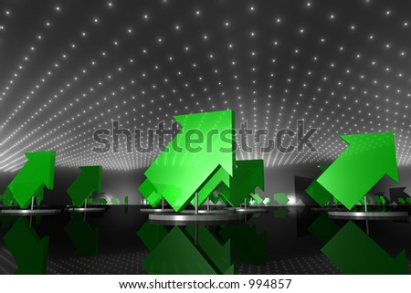 multiple green arrows on silver pedestals pointing upwards - stock photo