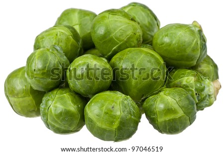 Multiple Green Brussel Sprouts in a Pile Isolated on White