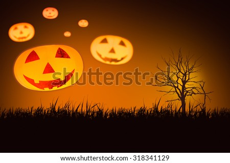 Multiple Halloween pumpkin with blur effect on background - stock photo
