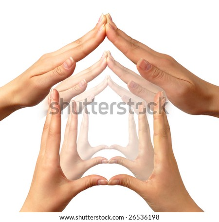 Multiple home symbols made by human hands concept - stock photo