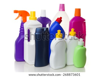 Multiple house cleaning products - stock photo