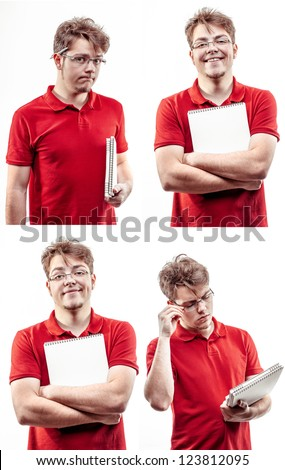 Multiple image of young guy, student in glasses, holding copybooks - stock photo
