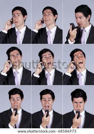 Multiple images of a businessman face expression while talking on his cellular (isolated on gray) - stock photo
