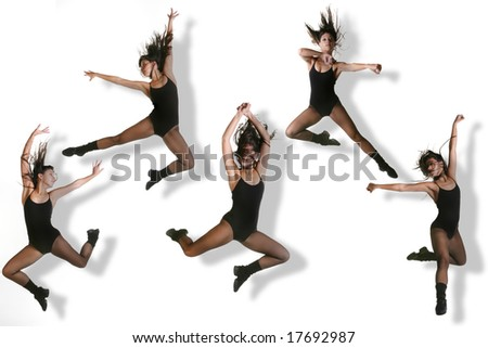 Multiple Images of a Modern Dancer Striking Various Poses While Jumping