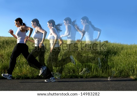 Multiple images of a woman running on a trail, ghosted - stock photo