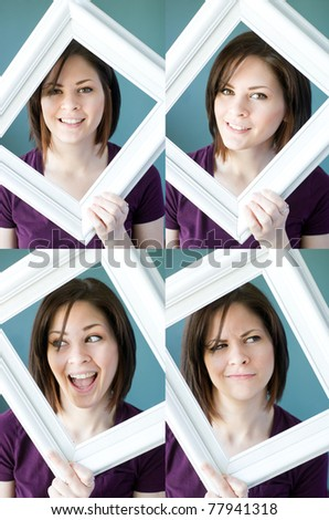 Multiple images of a young woman making different faces framed by a vintage photo frame. - stock photo