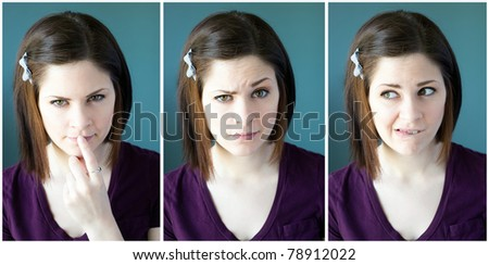 Multiple images of a young woman with different expressions. - stock photo