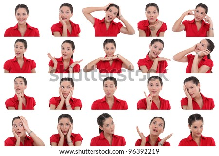 Multiple images of same woman - stock photo