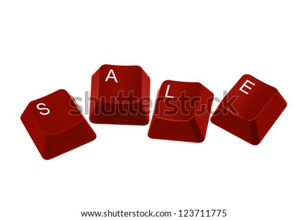 Multiple keyboard keys isolated and arranged to spell the word SALE on a white background. - stock photo