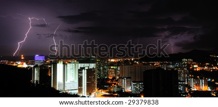 Multiple lightning at night - stock photo
