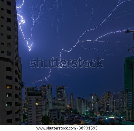 multiple lightning strikes in bangkok, the capital city of thailand - real, not photoshopped