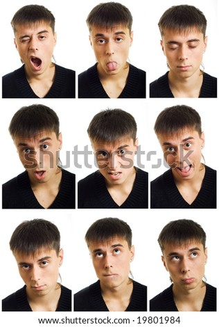 Multiple man face expression. - stock photo