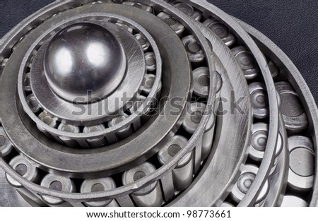 Multiple Metal Bearings Stacked on each other - stock photo