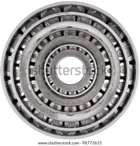 Multiple Metal Bearings Stacked on each other Isolated - stock photo