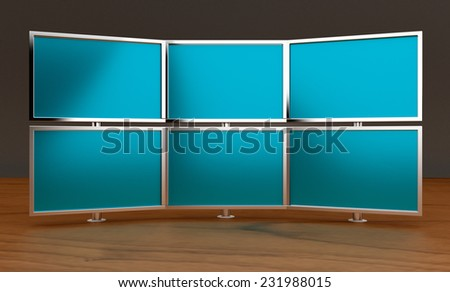 Multiple monitors (3d render)